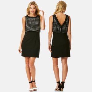 Laser Cut Popover Ponte Shift Dress